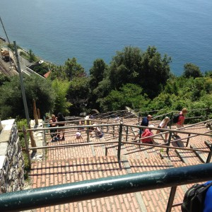Cinque Corniglia steep climb from train station below