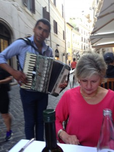 Rome 2 Accordion player entertaining at dinner