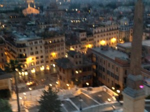 Rome Spanish Steps in lights blurred
